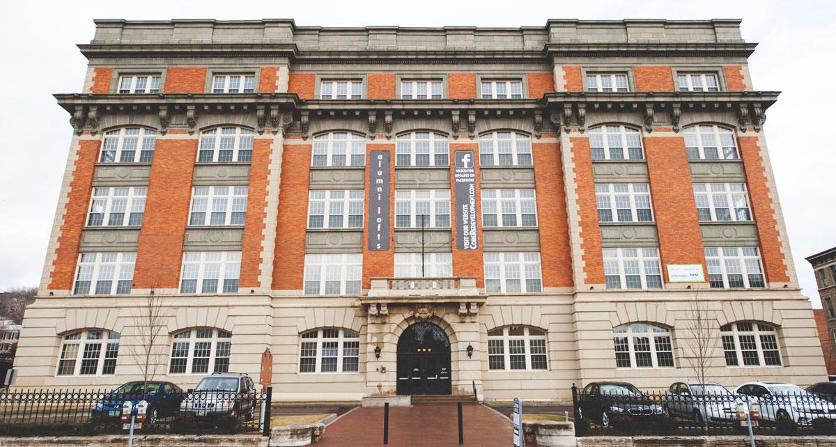 The front exterior of Alumni Lofts building