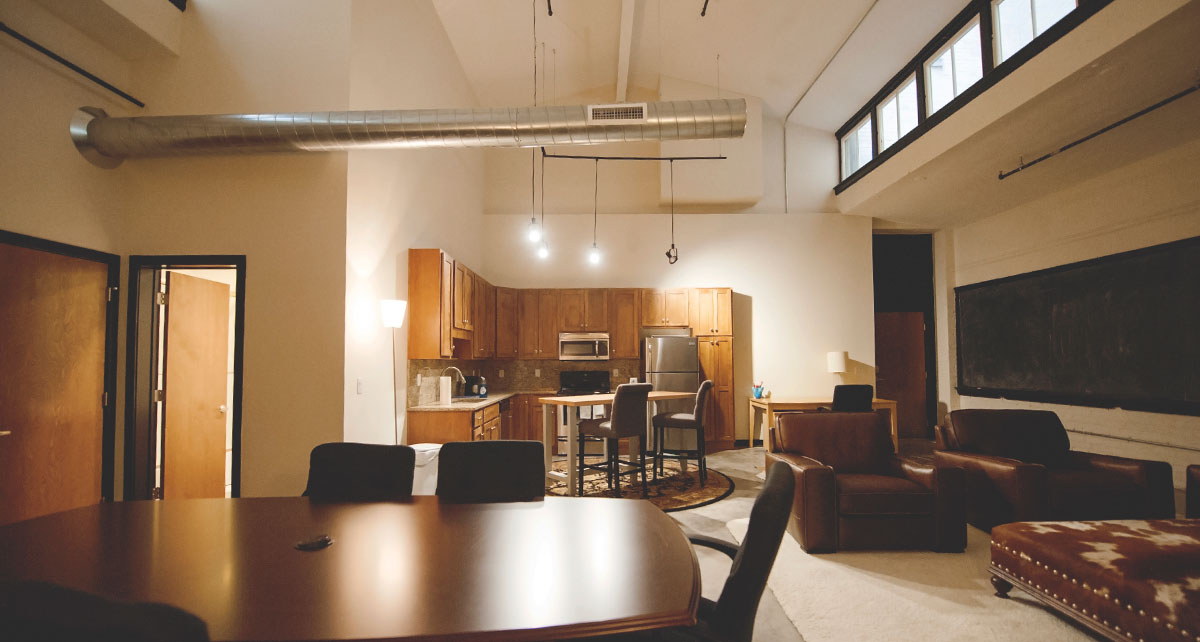 Open floor plan of Alumni Lofts residence