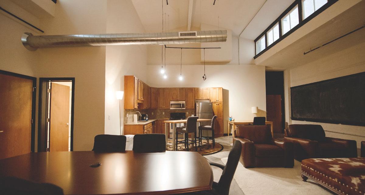 Open floor plan of Alumni Lofts residence