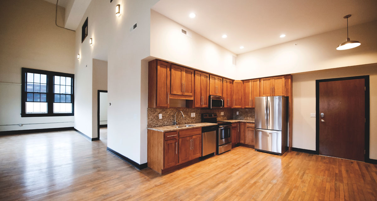 View of residential kitchen at Alumni Lofts