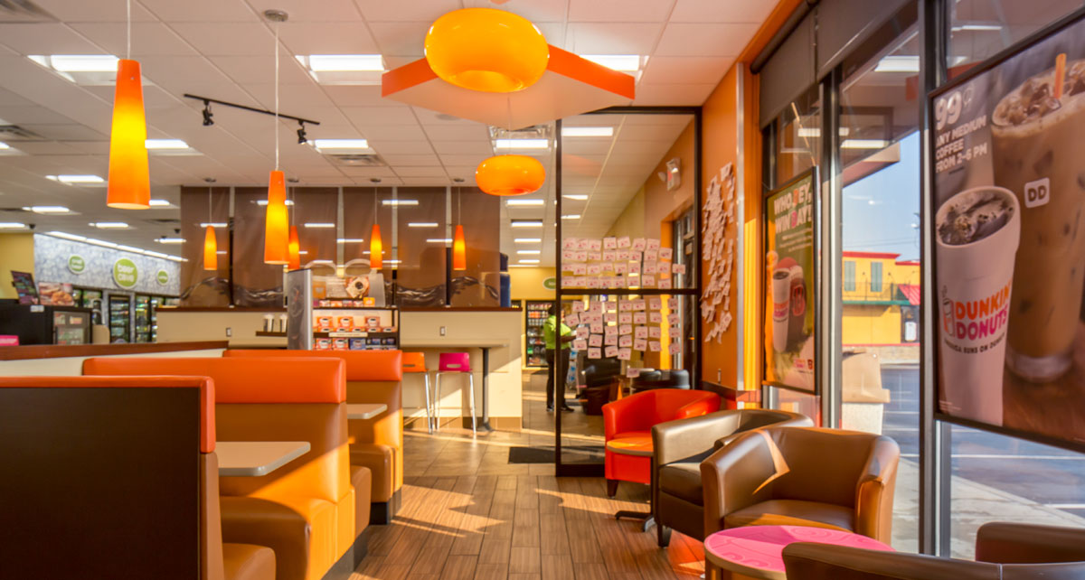 Dining area of Dunkin Donuts and GoCo