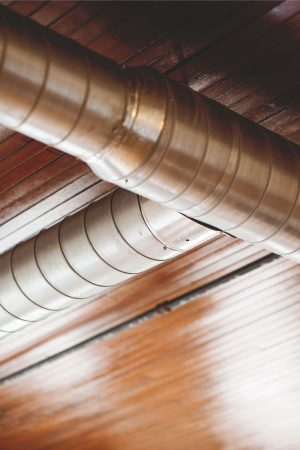 Overhead ducts and woodwork at Alumni Lofts