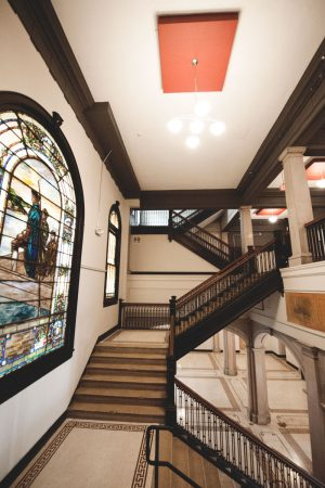 Renovated main foyer stairwell of Alumni Lofts