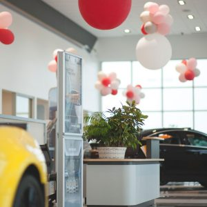 Showroom with balloons at Piles Chevrolet