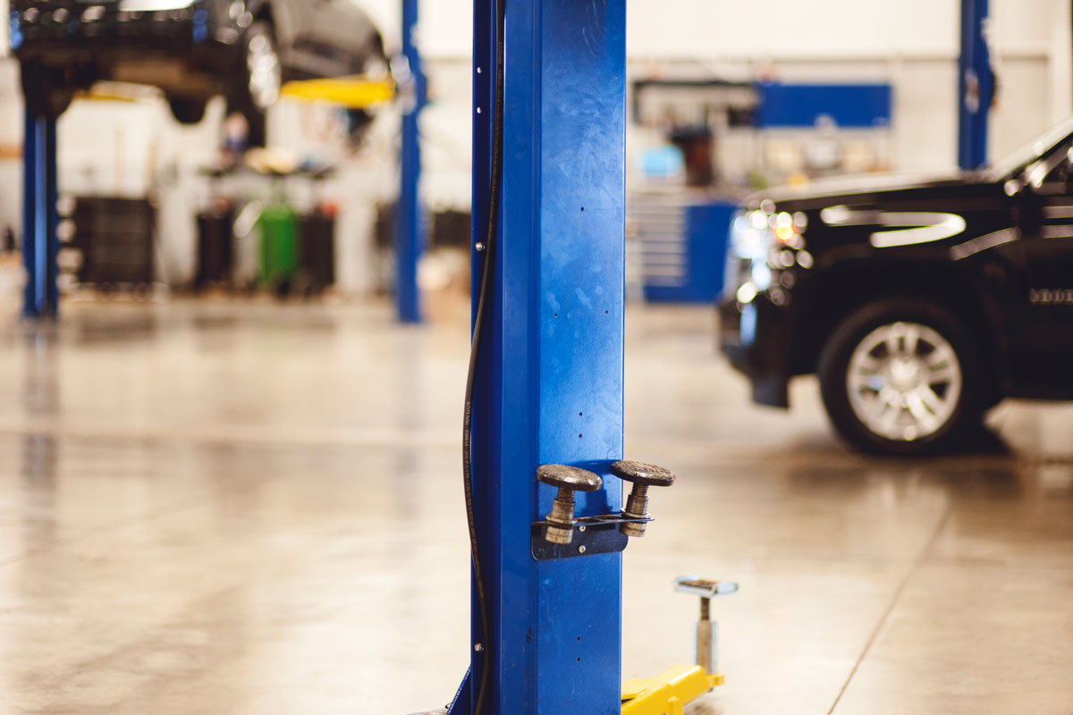 Pole with valves and tools in maintenance area at Piles Chevrolet