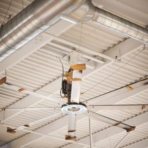 Large ceiling fan in shop area of Piles Chevrolet