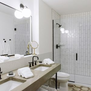 Guest bath at Hotel Covington