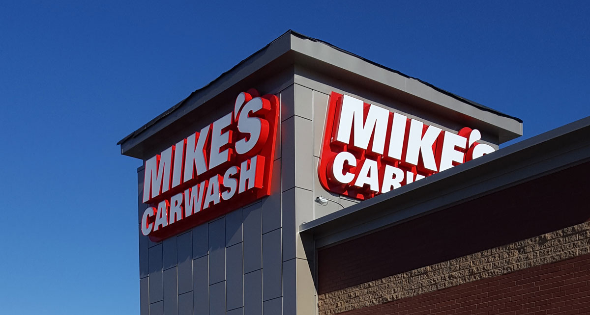 Mike's Carwash main tower with brand