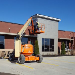 Construction crew working on Mike's Carwash